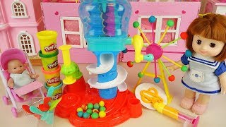 Baby doll and play doh marble slide play