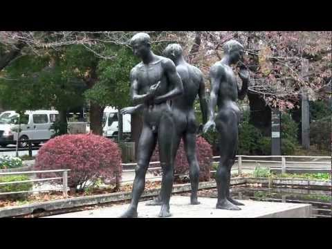 Artwork Nude Bronze Men Tokyo Chiyoda Japan 2059 video