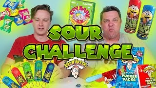 SOUR CANDY CHALLENGE WarHeads Pucker Packs, Toxic Waste, Cry Baby