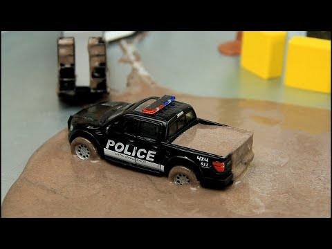 Police Cars in the mud 60 minutes video .