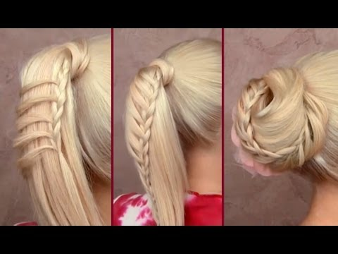 Cute back to school hairstyles tutorial Braided ponytail Easy top knot updo for long hair