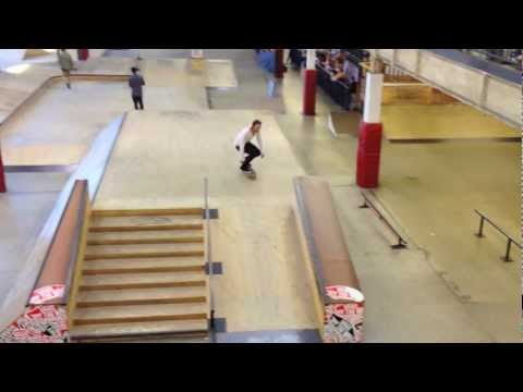 Garrett Hill 360 flip 50-50 down a hubba