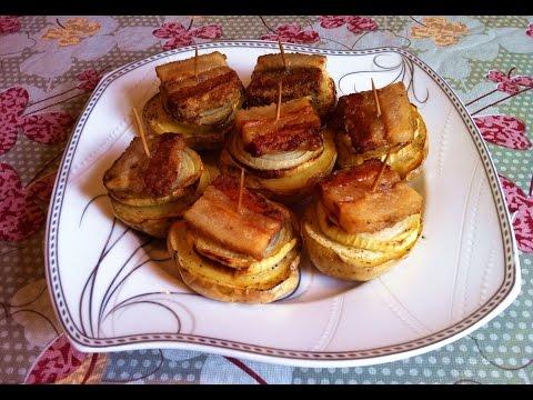 Картофель Запеченный с Салом / Запеченная Картошка с Салом / Простой Рецепт (Вкусно и Быстро)
