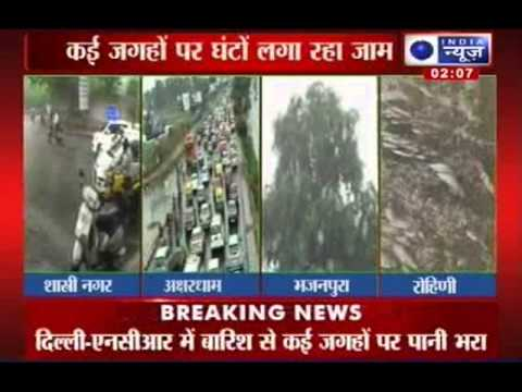 India News: Roads flooded, traffic hit as heavy rain lashes Delhi