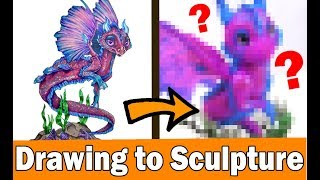 TURNING YOUR ART INTO SCULPTURE Polymer Clay Dragon DIY CRAFT Art Challenge