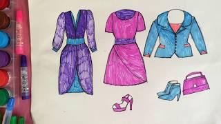 Dạy bé học tập vẽ thời trang váy quần áo giày dép | Day be hoc tap ve thoi trang vay | Dạy bé học