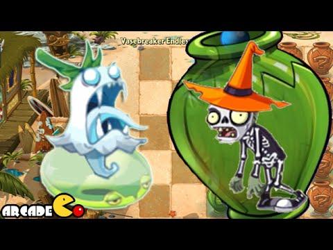 Plants Vs Zombies 2: Ghost Pepper Vs Dark Gargantuar Halloween Zombies Vasebreaker Endless