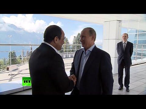 Путин прогулялся с президентом Египта по Сочи