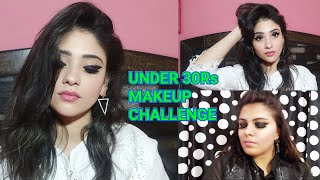 Makeup under 30Rs || full face Makeup challenge || collab with trendy style looks