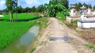 Cao thủ chạy xe mô tô trên đường quê [ấp 2, xã Long Thuận, huyện Thủ Thừa, tỉnh Long An]