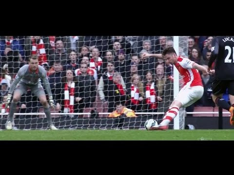 Olivier Giroud vs Liverpool FC 4/4/15 HD - English Commentry
