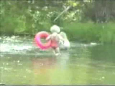 little girl goes fishing