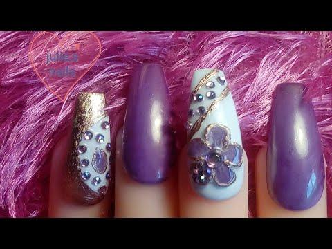 3D flower purple white gel nails(ring inspired)