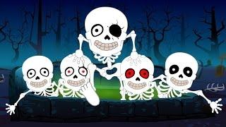 Five Little Skeletons | Nursery Rhymes For Kids, Children And Babies