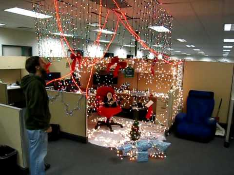 Mimosa office cubicle prank merry christmas youtube for Decoration work