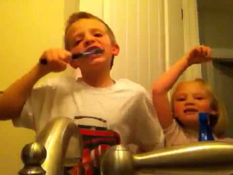Cayden having too much fun brushing teeth