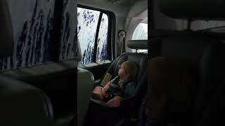 11 month old baby going through car wash first time