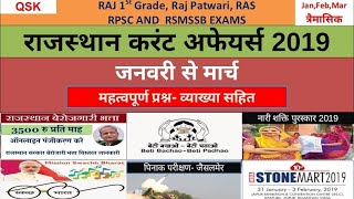 Rajasthan Current Affairs 2019 -Jan To March  Important Questions For 1st grade, RAS, ASO, RPSC