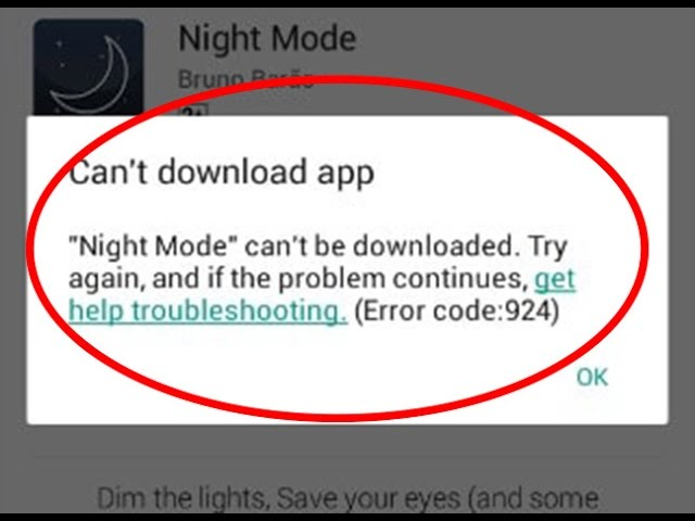 How to fix google play store error 924cant download app in google play store