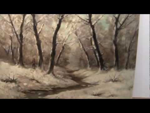 "Laszlo Kezdi-Kovacs Oil/Canavs ""Hunter in Snow Forest"""