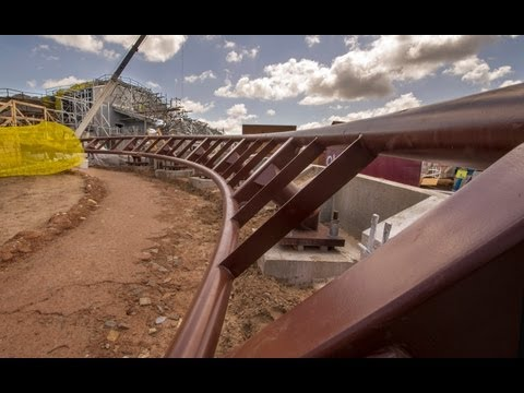 Seven Dwarfs Mine Train Roller Coaster Construction B-Roll Magic Kingdom Walt Disney World