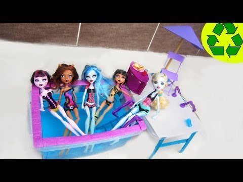 How To Make A Doll Swimming Pool For Monster High, Barbie And American Girl -recycling video