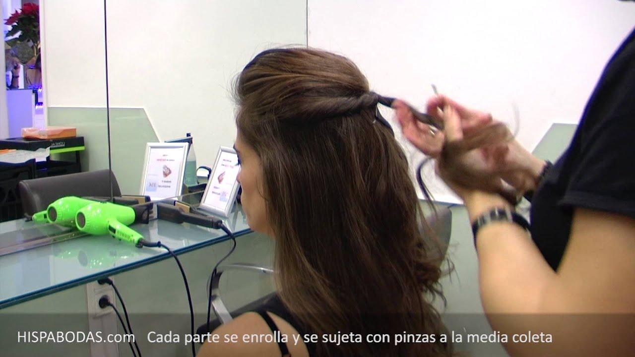Peinados para novias semirecogido con bonito aplique de cabello