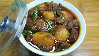 Cook the beef with potato/আলু দিয়ে গরুর মাংসের ঝোল/Alu diye Gorur Mangsho/Beef with Potatoes Curry.
