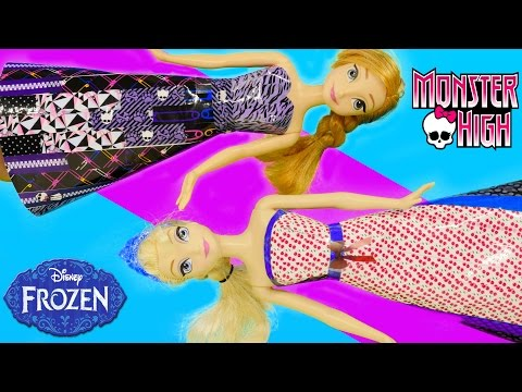 Monster High Tapeffiti Barbie Doll Dress Tutorial Frozen Elsa Anna How To by Disney Cars Toy Club