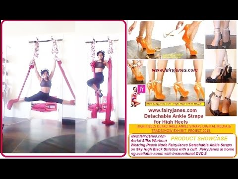 HIGH HEELS ANKLE STRAPS,  DETACHABLE: AERIAL SILK WORKOUT IN PEACH NUDE STRAP W/BLACK CUFF PLATORMS