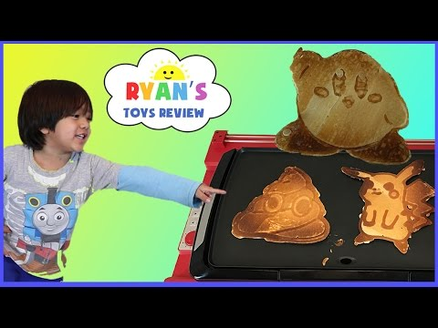 Pancake Art Machine 3D Printer Food Challenge! Surprise Characters Poop Emoji  Kirby Iron man