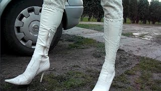152 white over knee boots run over car