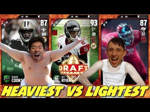 HEAVIEST VS LIGHTEST PLAYER DRAFT! CRAZY GAME! MADDEN 17 DRAFT CHAMPIONS