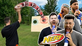 NERF RUSSIAN ROULETTE FOOTBALL TRICK SHOT CHALLENGE!!!