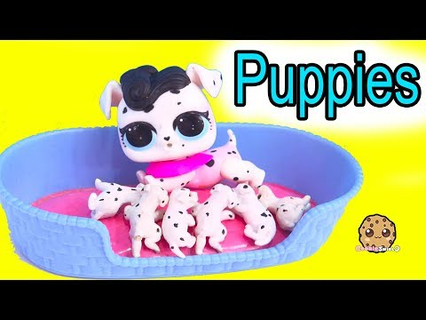 LOL Surprise Pets Dog Has Puppies !  Cookie Swirl C Toy Video