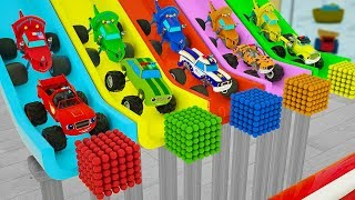 Learn Colors Monster Rainbow Vehicle, Edit Street Automobiles for Kids Children