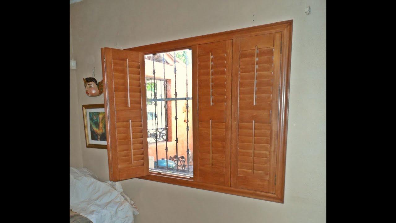 Shutters de madera para ventanas peque as youtube for Ventanas con persianas incorporadas