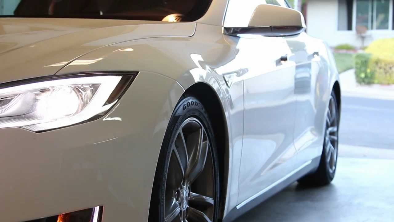 Tesla Model S Active Air Suspension In Action Lowering