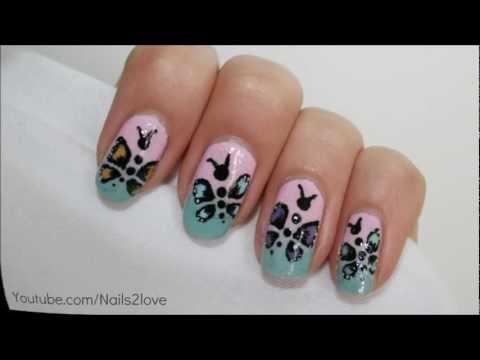 Summer butterfly nail art tutorial