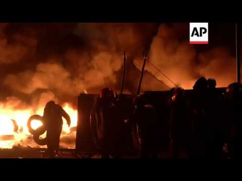 Clashes continued through the night in Kiev, as anti-government protesters kept barricades burning i