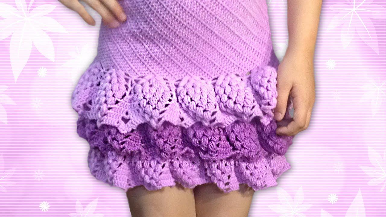 Вязание юбки с рюшами 136