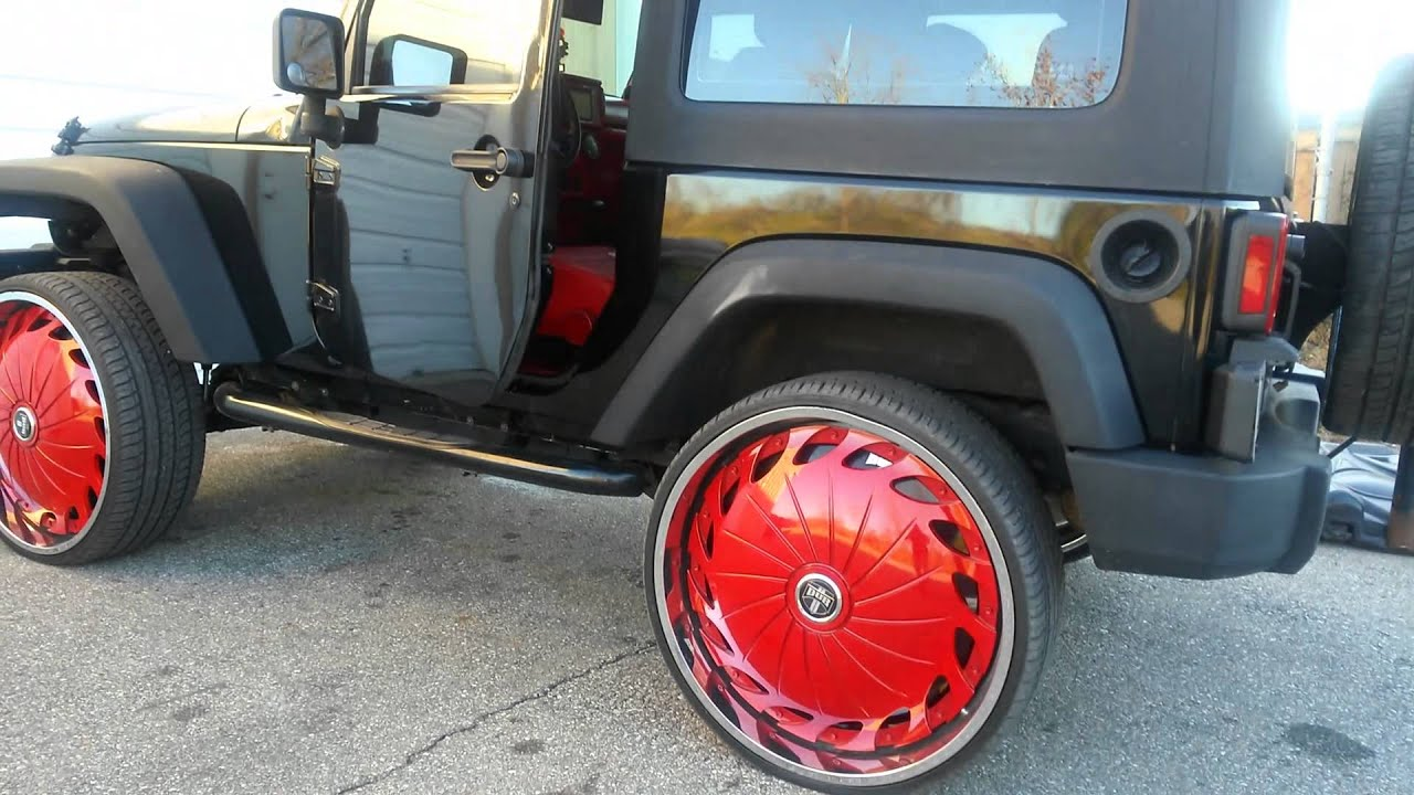 Jeep Wrangler On 28 Dub Drama 39 S Solab Custom Interiors Promo Youtube