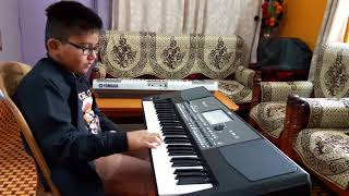 Sholay harmonica theme on keyboard by seven years old Samrat Sancheti from Nagpur