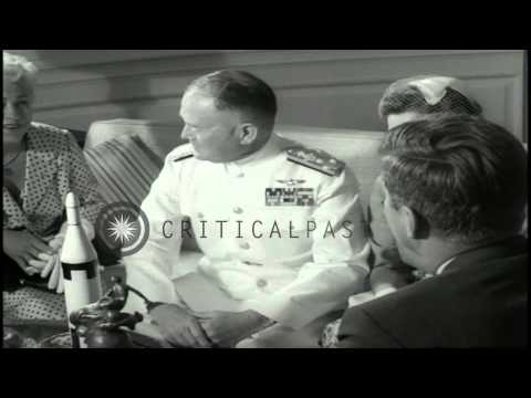Link to order this clip: http://www.criticalpast.com/video/65675068058_John-F-kennedy_william-F-raborn_mildred-T-raborn_collier-award Historic Stock Footage ...