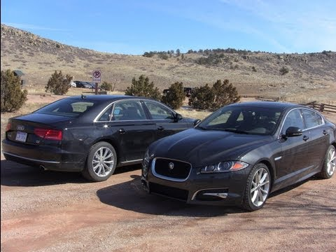 2012 Audi A8 L versus Jaguar XF Mashup Drag Race Review