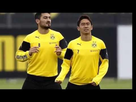 Shinji Kagawa trains alongside Ilkay Gundogan as the pair eye return to Borussia Dortmund team