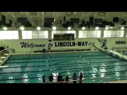 Mia swimming at Lincoln Way East High School