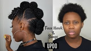 Easy Protective style | Faux hawk Updo with afro bangs on Short Natural Hair Tutorial
