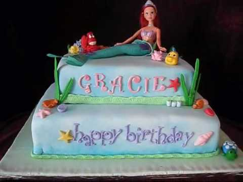 The Little Mermaid Birthday Cake Fondant. Little Mermaid Fondant Cake.