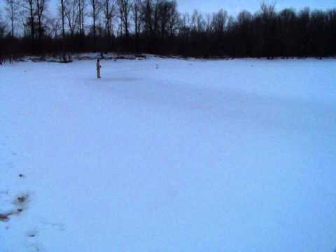 Dynam Hawk Sky RC Airplane - Several Take Off & Landings (Ohio Winter & Snow)